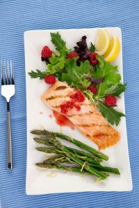 salmon with rasperry dressing